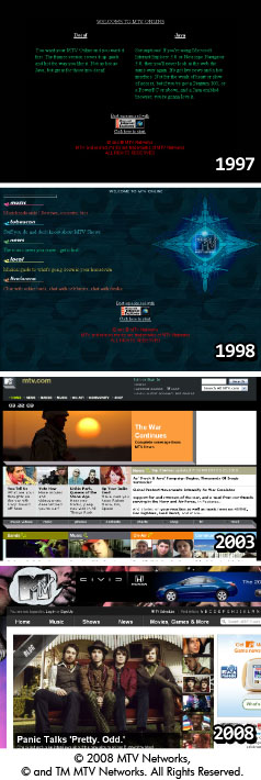 Examples of website design evolution. © 2008 MTV Networks, © and TM MTV Networks. All Rights Reserved.